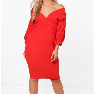 Off-shoulder Wrap midi dress